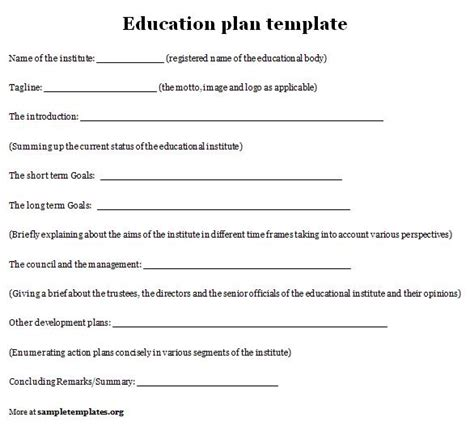 Education Template image education plan template