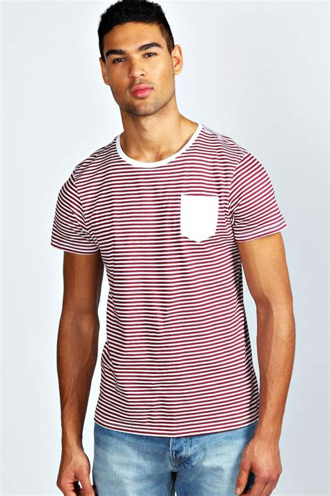 Kaos Polos Oblong Pocket Tees With Stripe Original Kh15 burgundy horizontal striped crew neck t shirt boohoo stripe pocket t shirt where to buy how