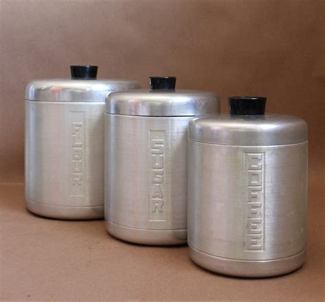 kitchen canisters flour sugar aluminum ware vintage set of 3 canisters vintage kitchen
