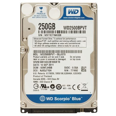 Hdd Wd 250gb hardverker wd 250gb scorpio blue mobile hdd