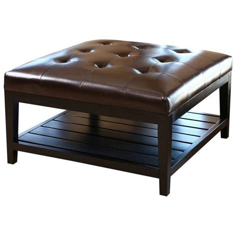 brown leather ottoman coffee table abbyson living villagio square leather ottoman coffee