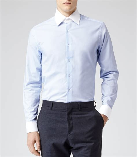 caffrey blue contrast collar shirt reiss