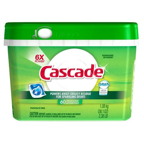 cascade actionpacs fresh scent dishwasher detergent with