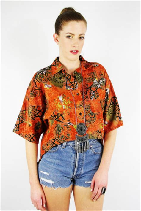 ethnic fishtail pics trashy vintage shirts quot vintage 80s 90s boho orange