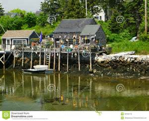Small Villages by Quaint Small New England Lobsterman Village Stock