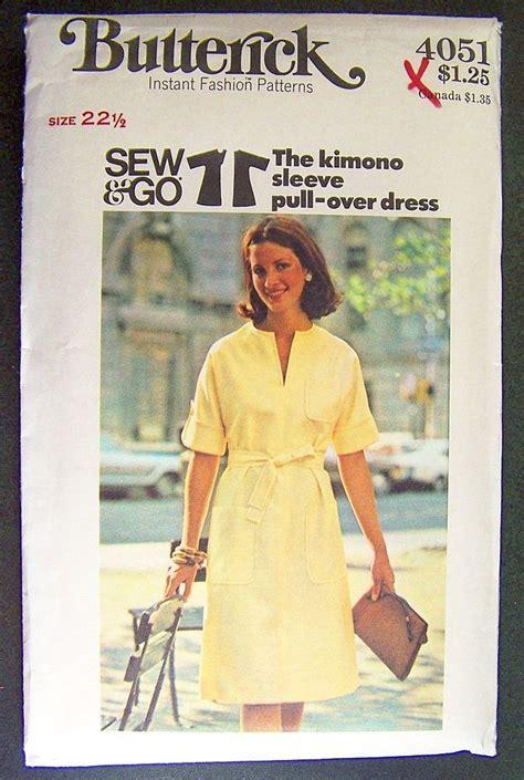 kimono pattern butterick vintage 1970s sewing pattern butterick 4051 a line dress