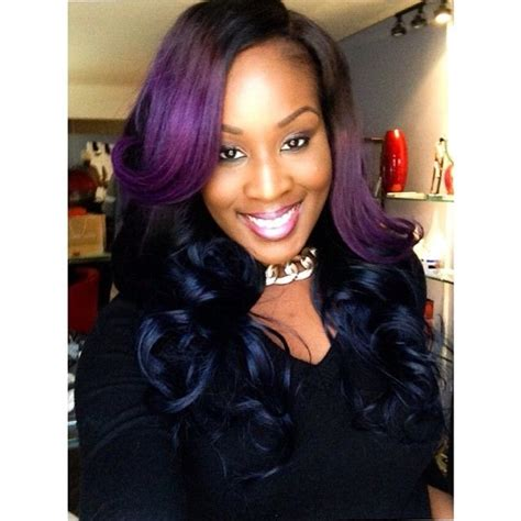 black hairstyles weave on for summerblack and purple purple and blue sew in weave you better ba weave it s