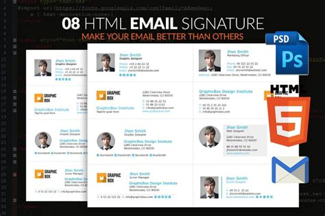 html email signature template email signature template for unique identity html and psd