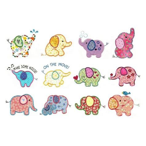 embroidery design by juju cute elephants applique machine embroidery designs