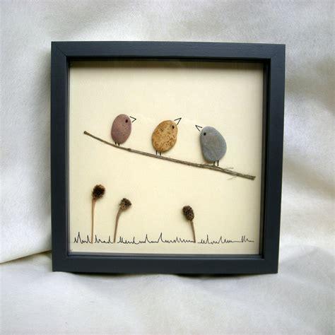 cadre mural 1849 petit tableau quot oiseaux quot compos 233 de galets d herbes s 232 ches