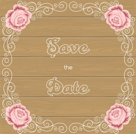 Wedding Background Eps by Flower Wedding Invitation With Background Wooden Vector