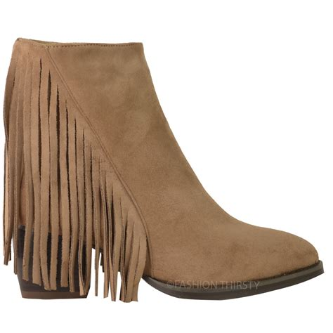 Winter Shoes Top Shoes With Fringe Tassels And Ruffles by New Womens Tassel Fringe Ankle Boots Low Block Heel Biker
