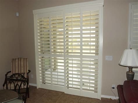 Shutters For Sliding Glass Patio Doors Plantation Shutters On Sliding Glass Doors Traditional By The Louver Shop