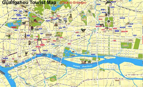 guangzhou map tourist attractions guangzhou map city of china map of china city physical