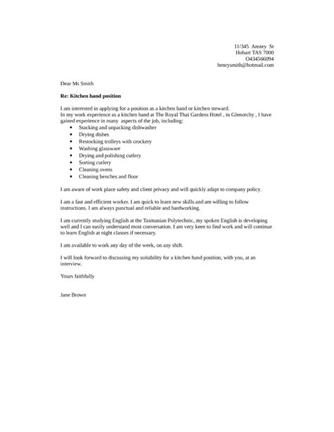 sles of a cover letter for a application basic kitchen helper cover letter sles and templates