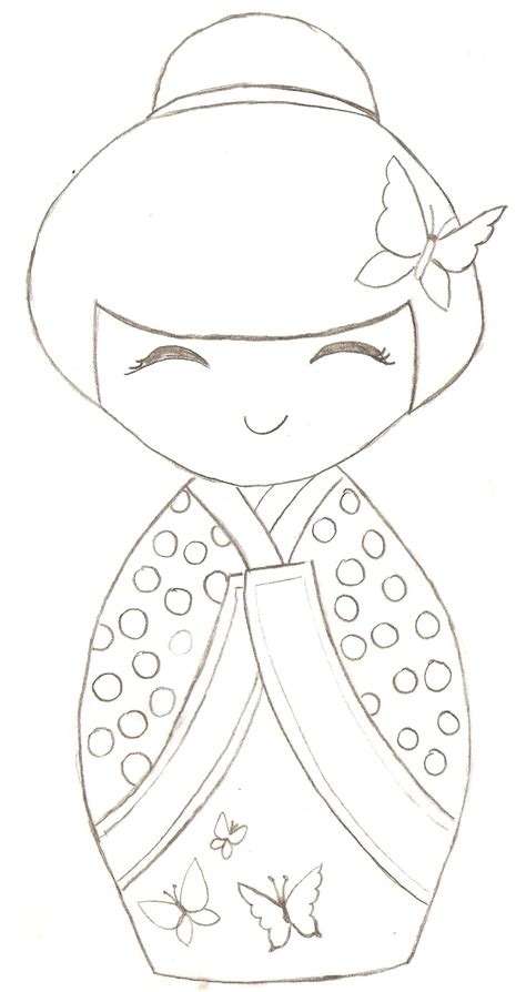 japanese pattern coloring book kokeshi colouring page for mimi pinterest