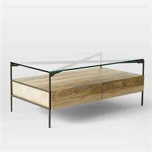 Glass Storage Coffee Table Glass Topped Industrial Storage Coffee Table West Elm