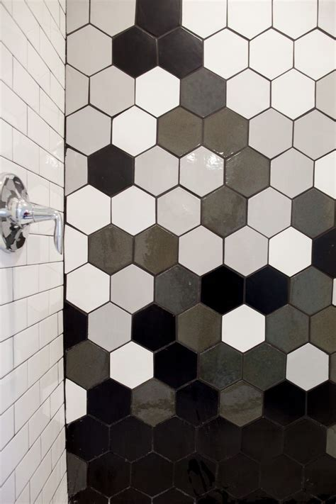 10 In Hexagon Floor Black And White - oh hey gradation black and white hexagon tile for a