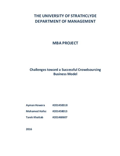 Crowdsourcing Mba by Mba Dissertation Challenges Toward A Successful