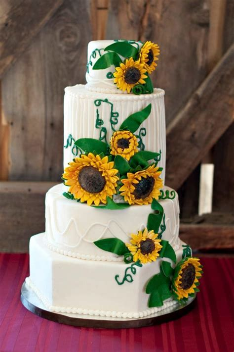 Sunflower Wedding Cake   CakeCentral.com