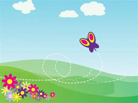cartoon butterfly and flowers powerpoint template