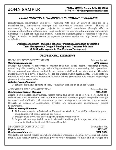 Business Resume Sles Business Owners Construction Project Management Specialist Resume Sle