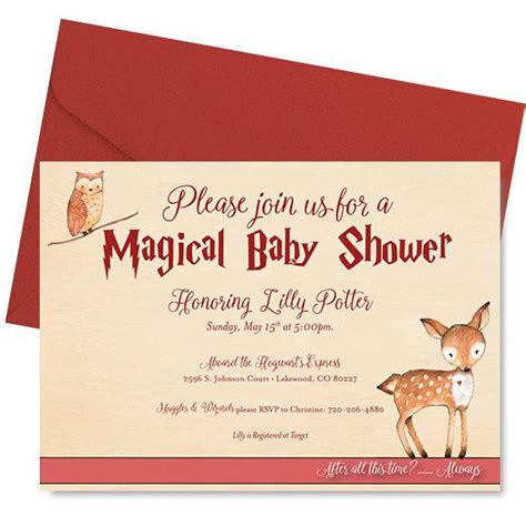 Per Baby Shower Invitation by Harry Potter Baby Shower Invitation Harry Potter Shower