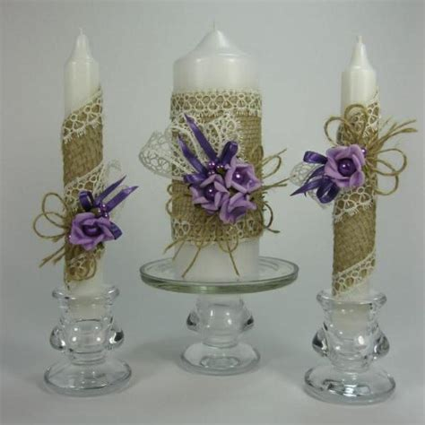 Handmade Taper Candles - rustic wedding unity candles purple roses pearls
