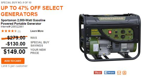 home depot up to 47 generators today only starting