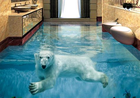 3d floor painting wallpaper underwater world mermaid 3d floor pvc custom vinyl flooring adhesives polar bear underwater