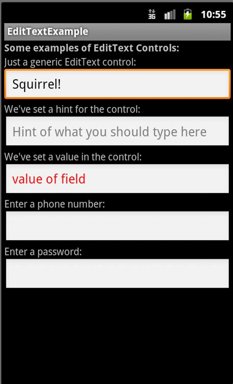 tutorial android form android user interface design edittext controls