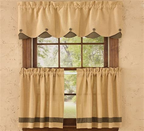 lined burlap curtains black burlap check lined scalloped curtain valance 58 quot x 14 quot