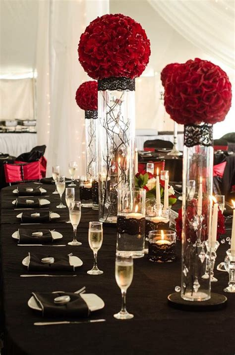 Deep Red Rose Balls On Cylinder Vases With Hanging Black Vases For Wedding Centerpieces