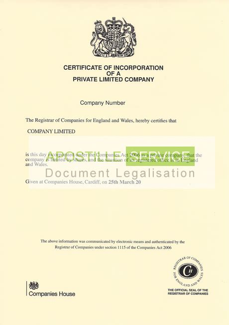 Society Letter Of Standing Apostille For Certificate Of Incorporation