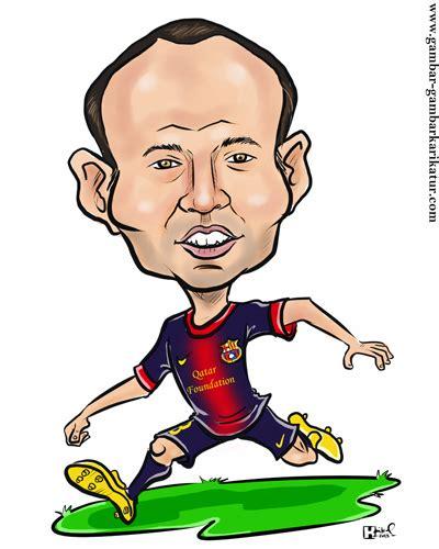 wallpaper karikatur barcelona karikatur pemain sepak bola iniesta