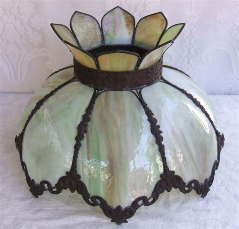 slag glass l shade rare antique stained slag glass lamp shade 22