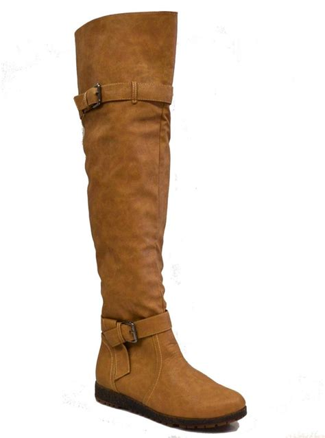 womens thigh high boots knee buckled