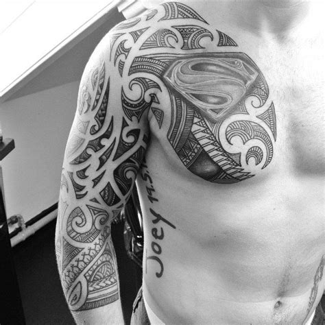 superman chest tattoo designs chest and sleeve maori superman sleeves