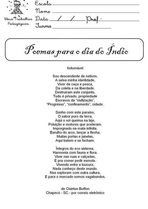 Poema para o dia do índio   Poemas, Dia do índio, Atividades