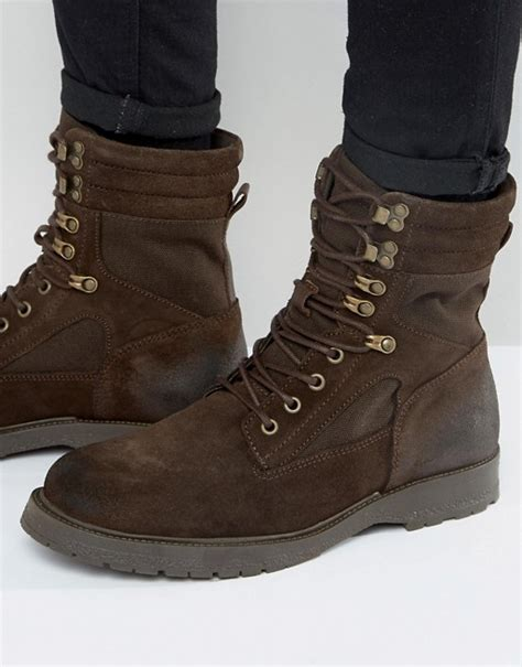 river island river island suede combat boots in brown