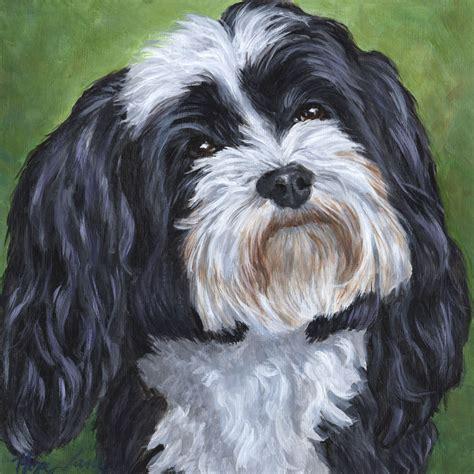 havanese black and custom portrait black and white havanese painting
