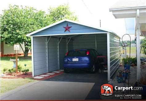 Single Car Port by Single Car Carport 12x21 Boxed Eave Roof Get Metal