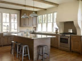 amazing Sand And Stain Kitchen Cabinets #2: stained-oak-kitchen-cabinets-grey-granite-countertops.jpg