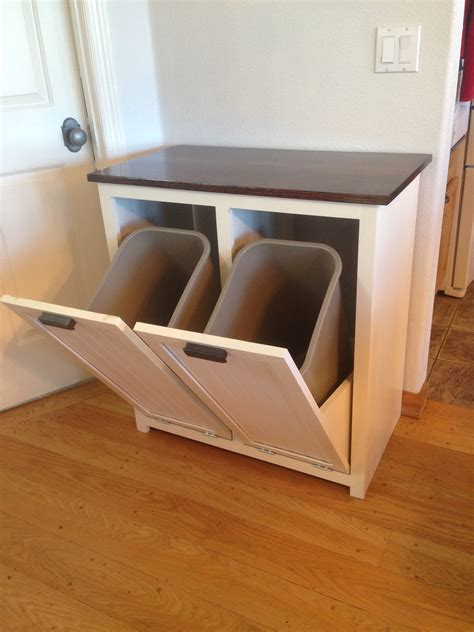 double garbage can cabinet i built a tilt out trash can cabinet