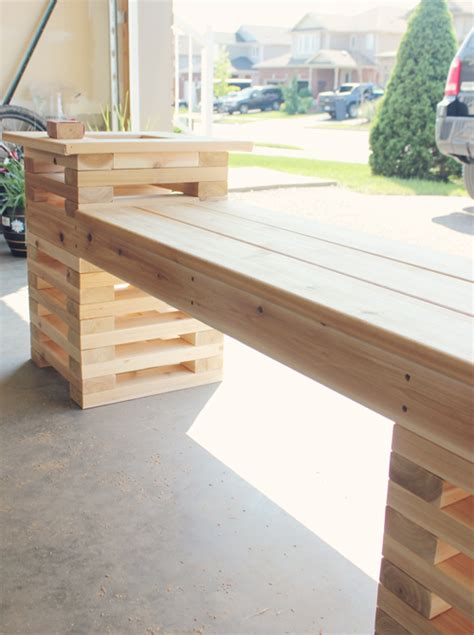 diy cedar bench diy outdoor cedar bench with planters shelterness