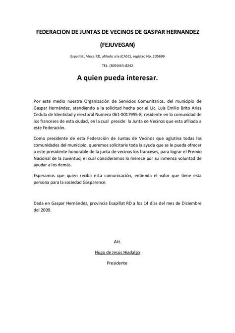 modelo carta de trabajo a quien pueda interesar carta de federacion de juntas de vecinos de gaspar hernandez