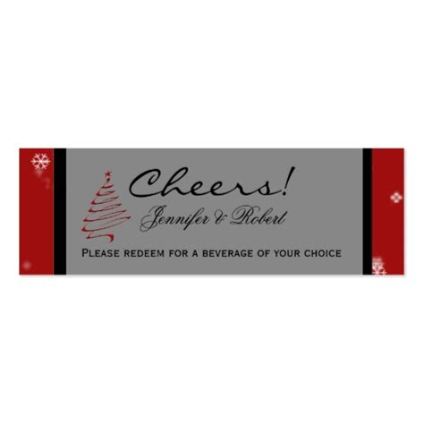 christmas tree snowflake red wedding drink tickets double