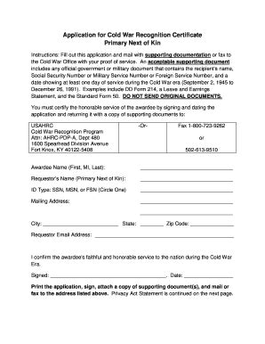 cold war medal application form certificate of recognition forms and templates fillable