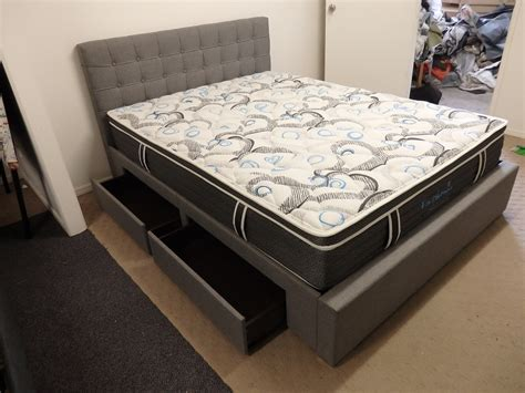 Bed Frame Queen Upholstered Fabric With Storage Four Bed Frame With Drawers Underneath