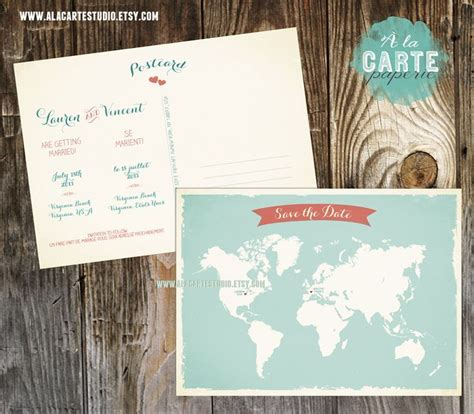 bilingual wedding invitations canada destination wedding bilingual save the date card world map card two language save the date